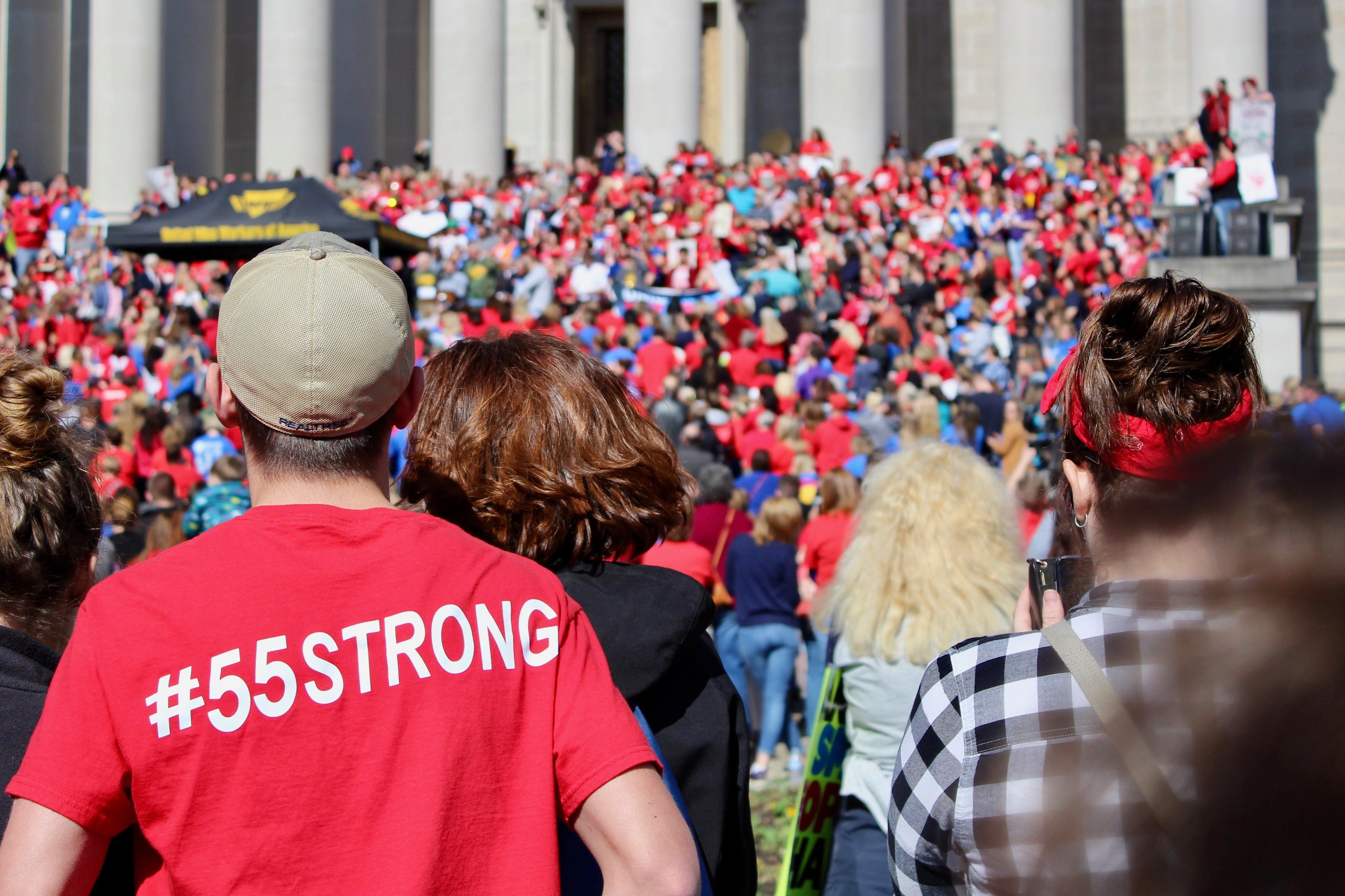 Teachers and other public employees gathered at the West Virginia capitol Monday on the third day of a statewide strike