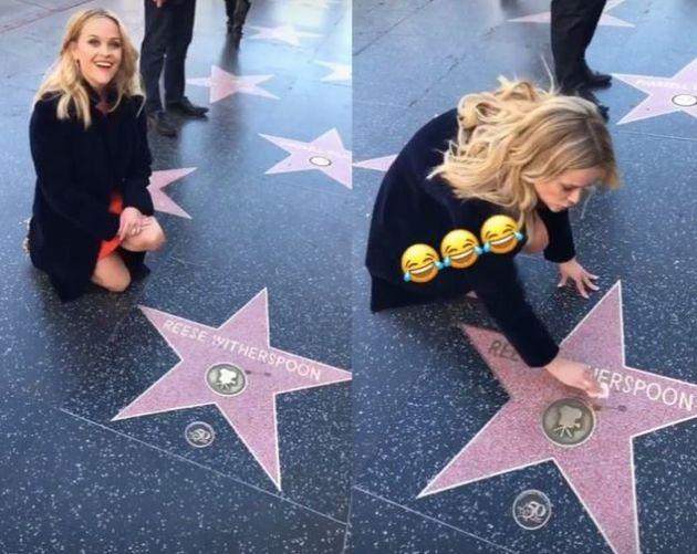 Γυάλισμα με υπογραφή: Η Reese Witherspoon καθαρίζει μόνη της το αστέρι της στο Hollywood Walk of