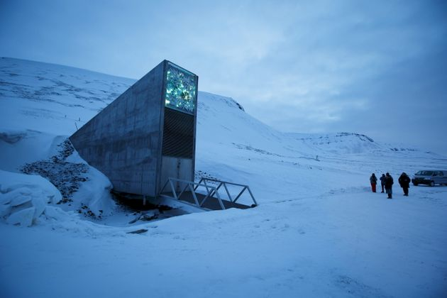The entrance to the international gene bank Svalbard Global Seed Vault is pictured outside Longyearbyen...