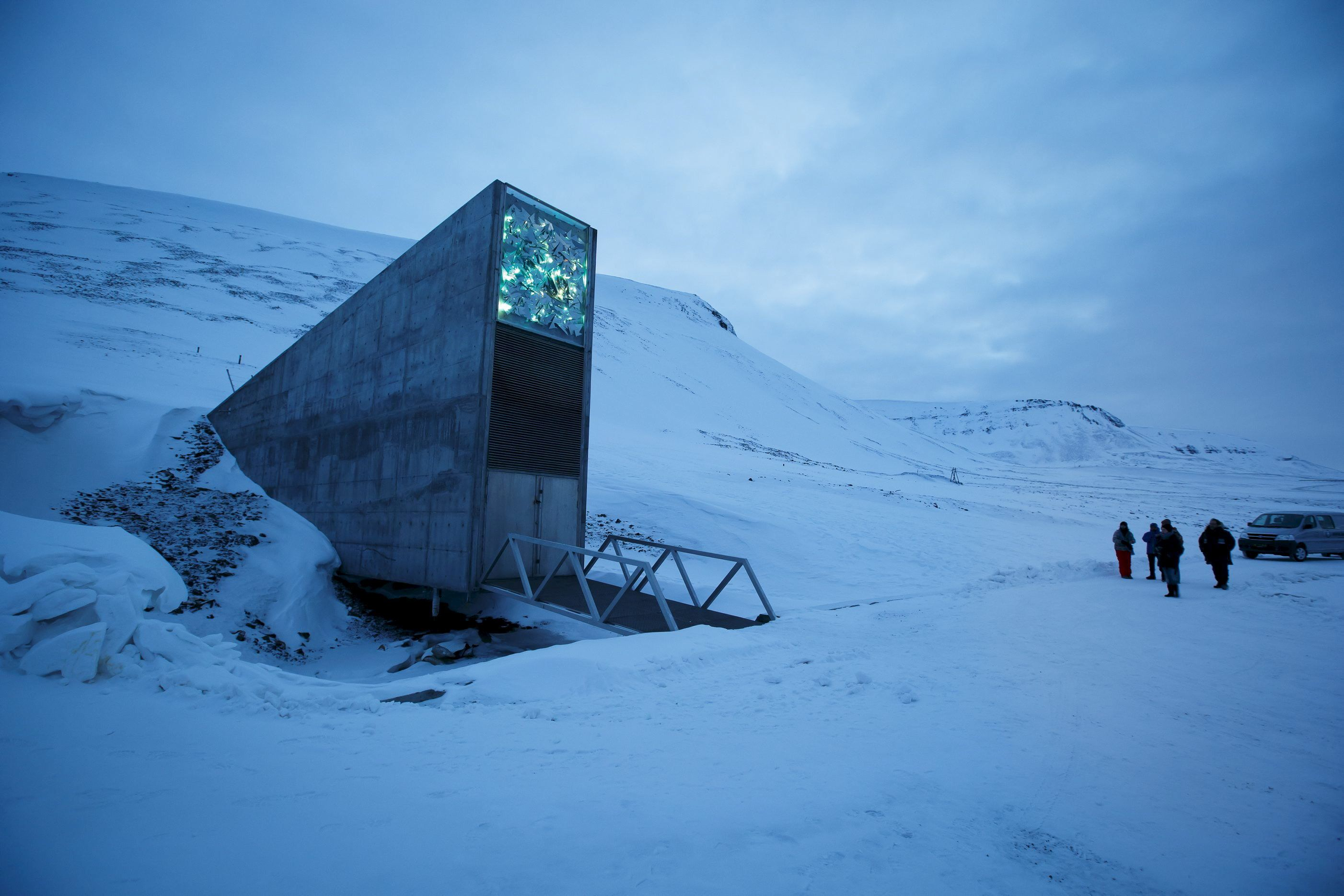 The entrance to the international gene bank Svalbard Global Seed Vault is pictured outside Longyearbyen on Spitsbergen, Norwa