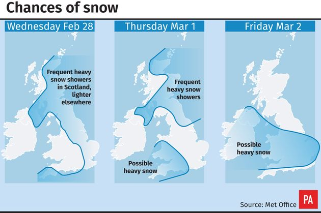 Chances of snow map