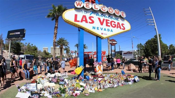 A memorial pays tribute to the victims of the mass shooting on the Las Vegas Strip in October. Fifty-eight people were killed