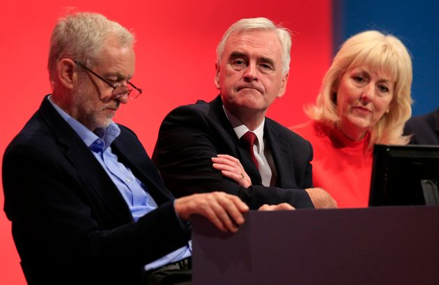 Jeremy Corbyn, John McDonnell and Jennie Formby at party