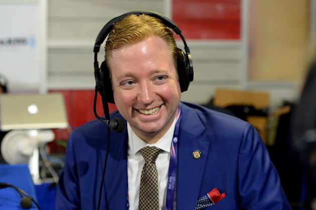 Gregory Angelo, president of Log Cabin Republicans, records a radio show on July 21, 2016,...
