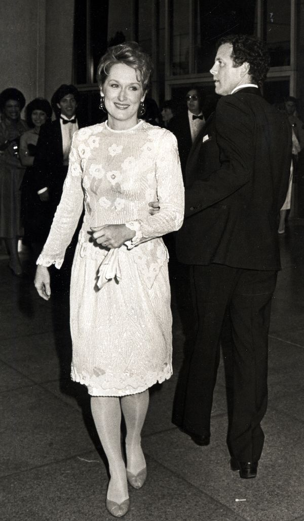 For the 1984 awards show, Streep opted for a fun beaded frock with a floral pattern on the bodice and a shorter hemline,