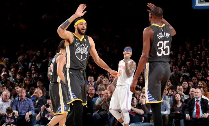 Kevin Durant and JaVale McGee of Golden State Warriors.