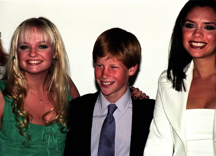 Prince Harry with Emma Bunton and Victoria Beckham.