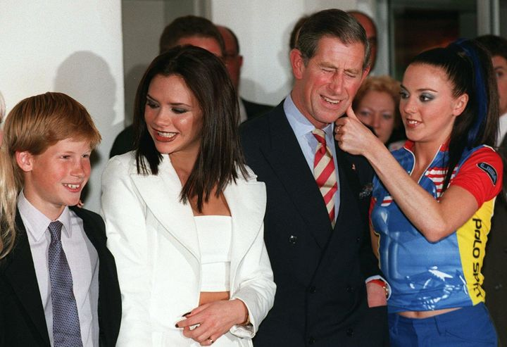 Prince Harry, left, looks like he's been a fan of the Spice Girls for a VERY long time.