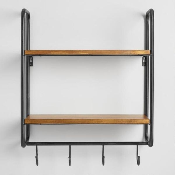"""Get it at <a href=""""https://www.worldmarket.com/product/metal+and+wood+skyler+2+shelf+wall+storage.do?sortby=ourPicks&from"""