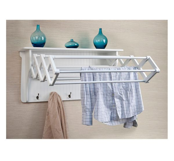 """Get it at <a href=""""https://www.target.com/p/wall-shelf-with-collapsible-drying-rack-and-hooks/-/A-16642780"""" target=""""_blank"""">T"""