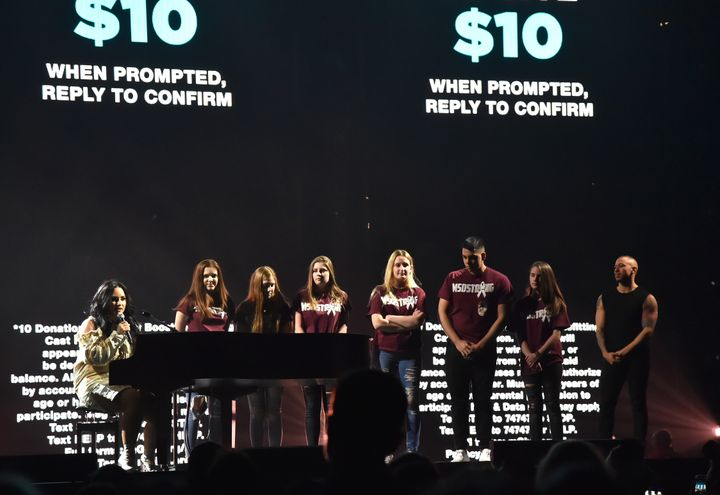 """Survivors of the mass shooting in Parkland, Florida, joined Demi Lovato on stage for the first night of her """"Tell Me Yo"""