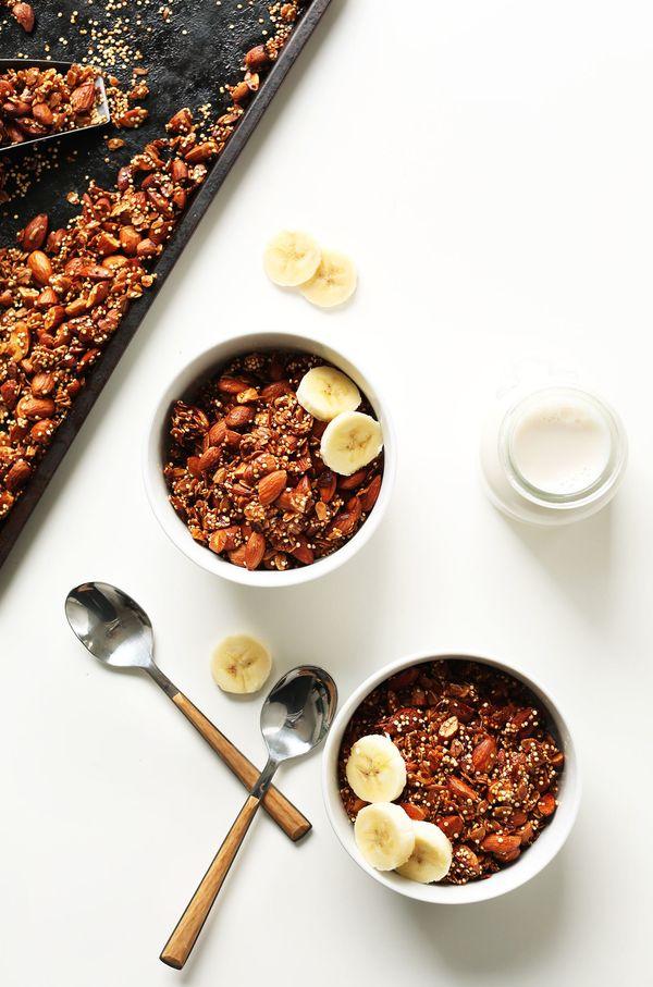 "<strong>Get the <a href=""https://minimalistbaker.com/7-ingredient-quinoa-granola/"" target=""_blank"">7-Ingredient Quinoa Granol"