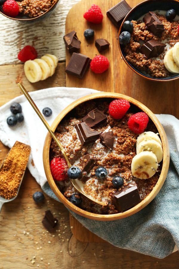 "<strong>Get the <a href=""https://minimalistbaker.com/dark-chocolate-quinoa-breakfast-bowl/"" target=""_blank"">Dark Chocolate Qu"