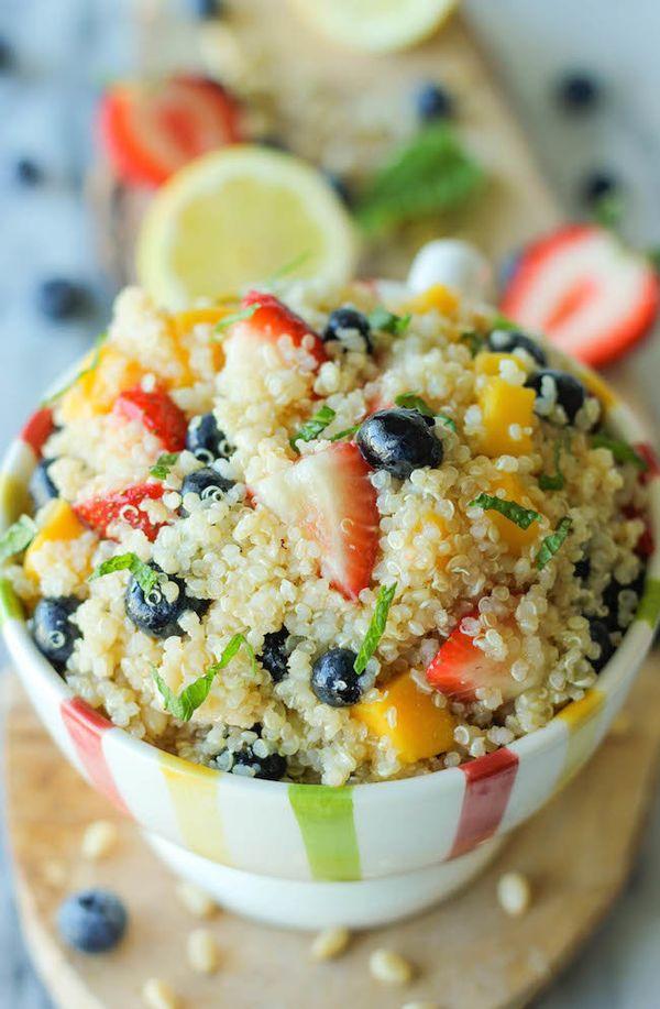"<strong>Get the <a href=""https://damndelicious.net/2013/08/28/quinoa-fruit-salad/"" target=""_blank"">Quinoa Fruit Salad</a> rec"