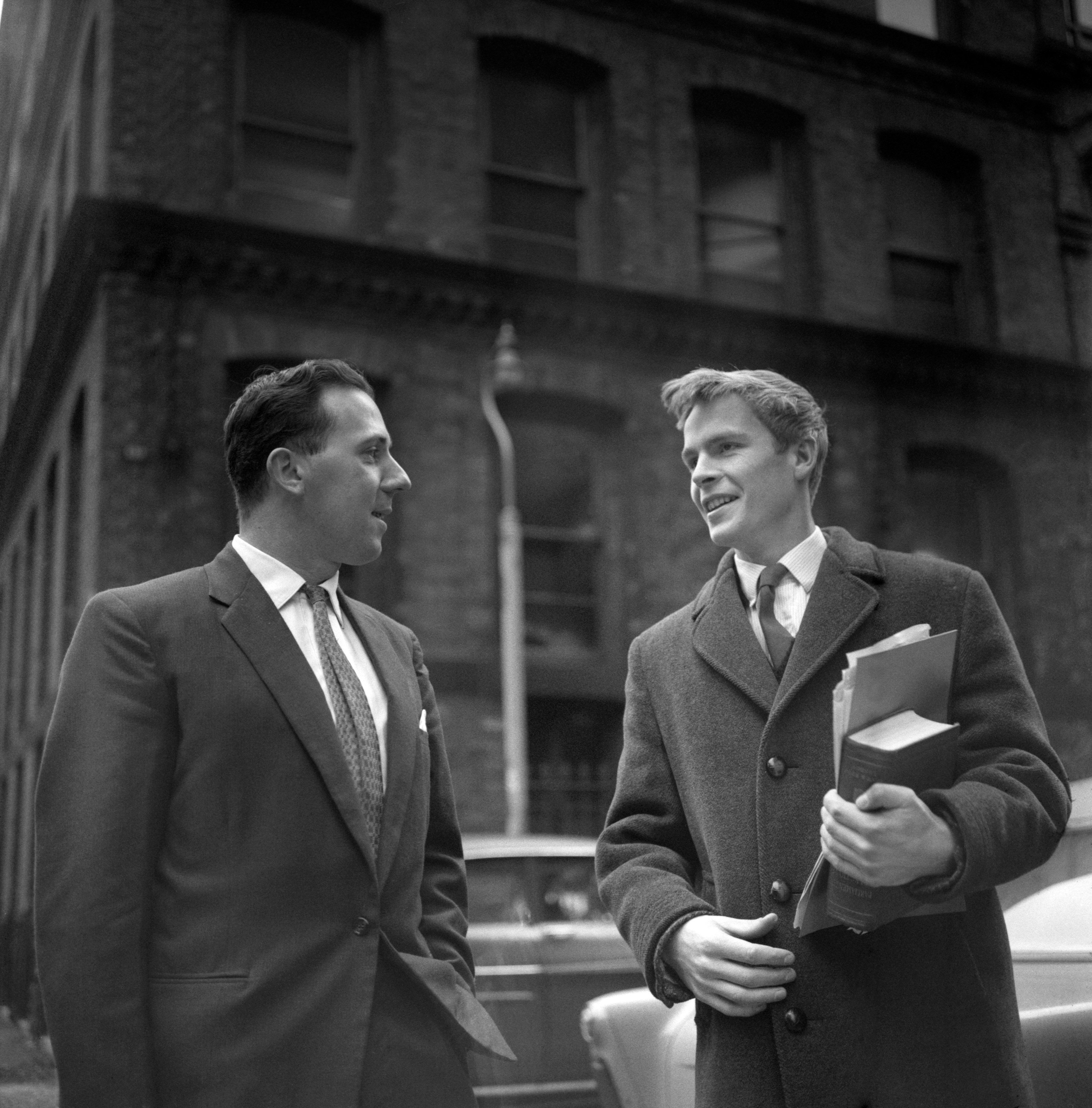 Union Movement candidate Walter Hesketh (left) pictured with his agent Max Mosley in 1961 after the Manchester Moss Side election