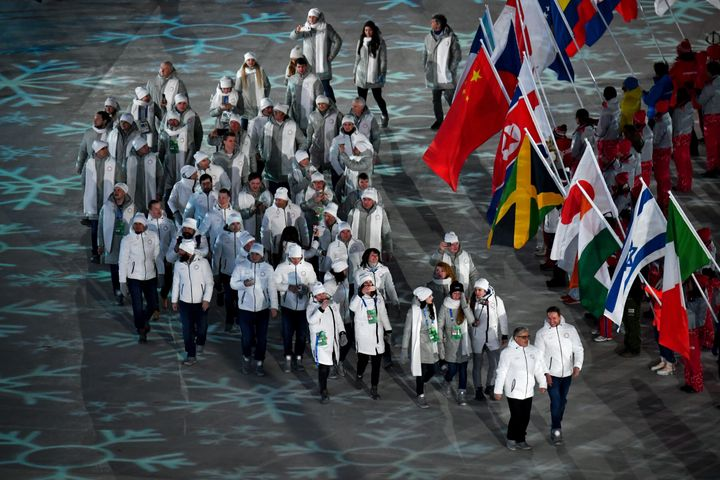 Russia's athletes enter the closing ceremony of the PyeongChang 2018 Winter Olympic Games on Feb. 25, 2018.