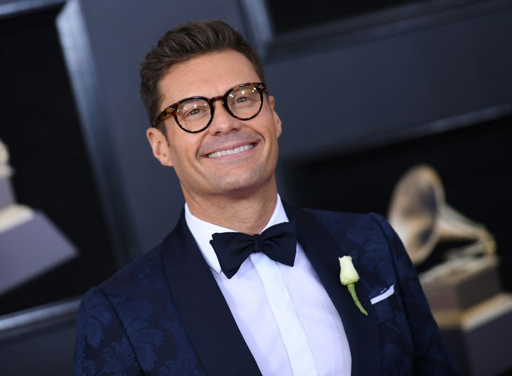 Ryan Seacrest arrives for the 60th Grammy Awards on Jan. 28, 2018, in New York.