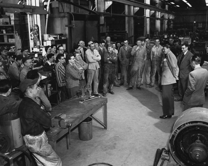 Ronald Reagan tours a General Electric plant in Schenectady, New York. Reagan worked as a spokesman for the company
