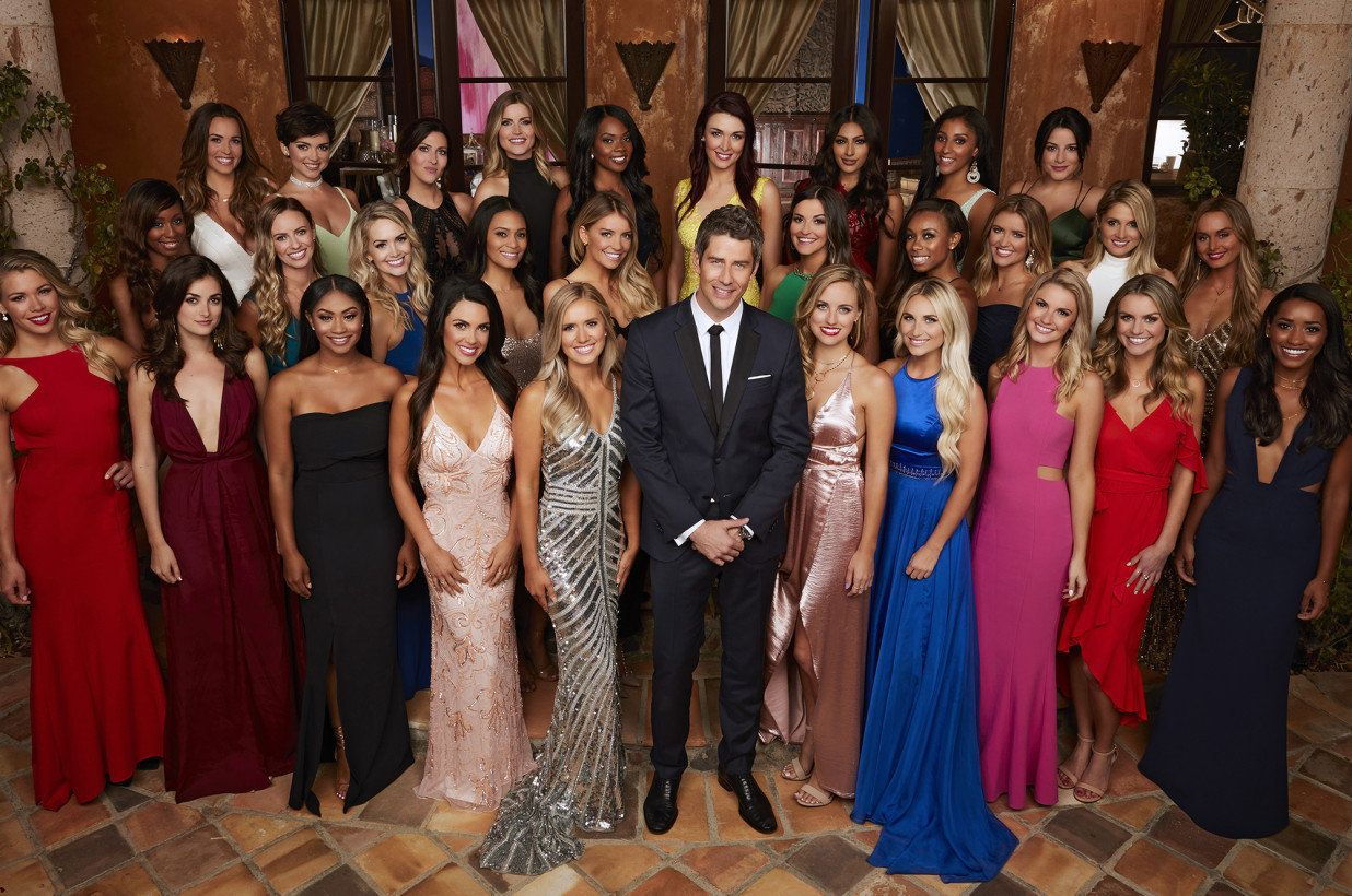 "The current ""Bachelor,"" Arie Luyendyk Jr., stands with all the women who began this series with him."