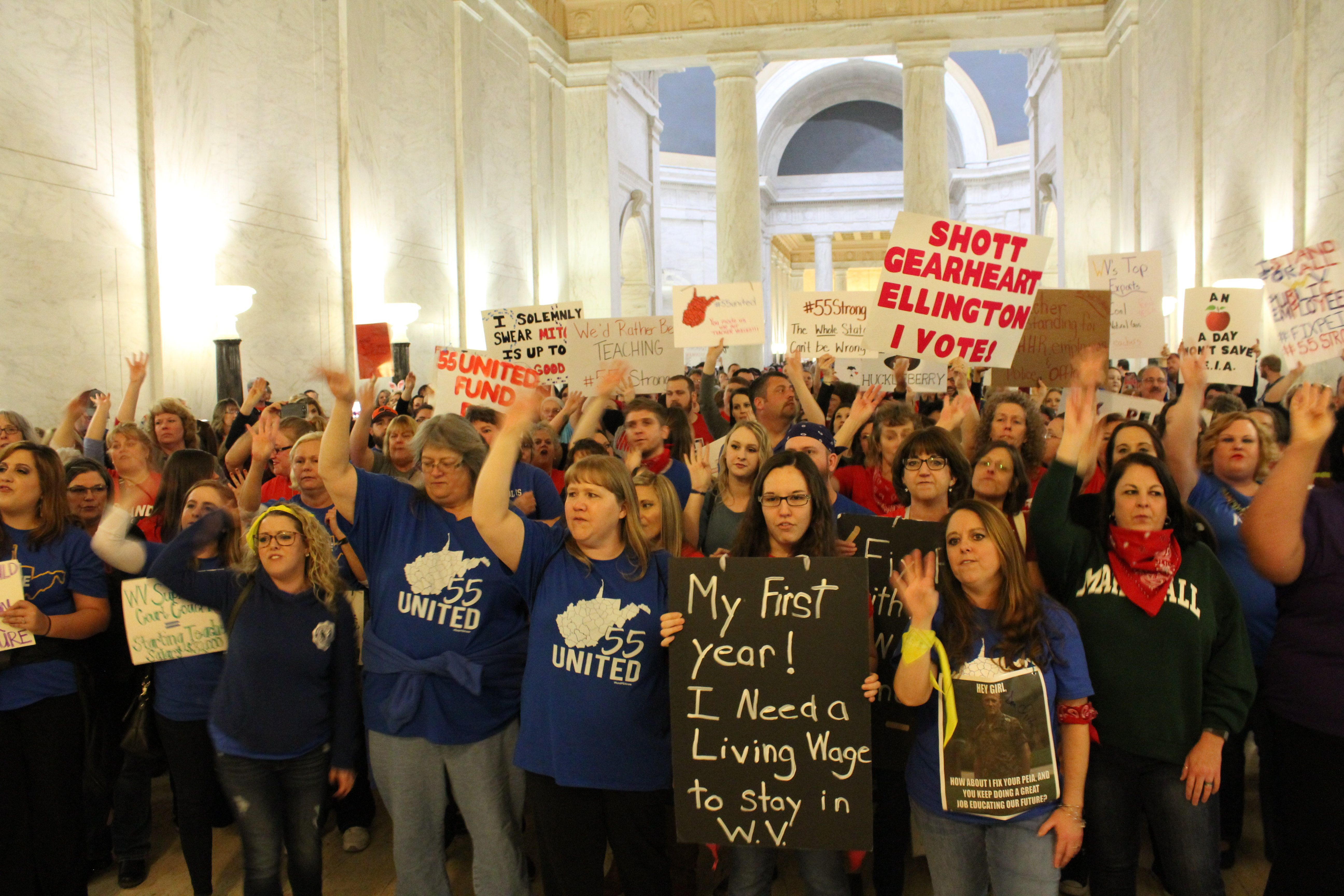 A teacher protest inside the West Virginia state Capitol on Monday.