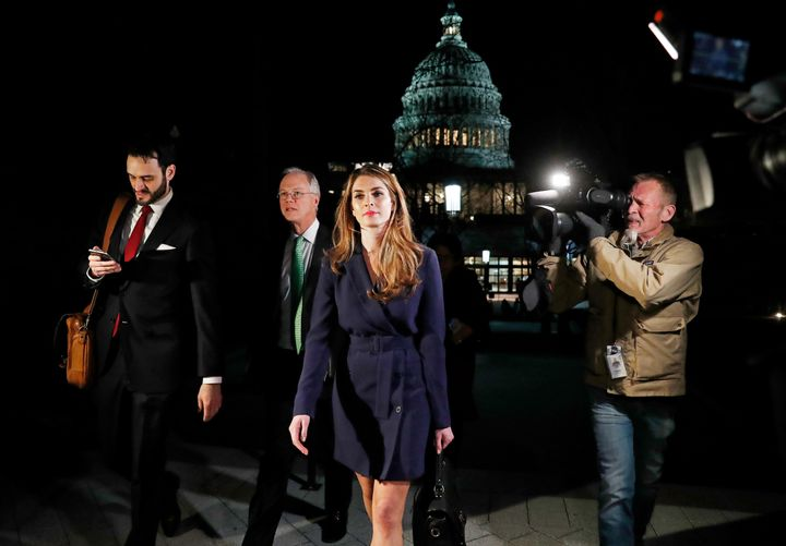 White House Communications Director Hope Hicks leaves the U.S. Capitol after attending the House Intelligence Committee close
