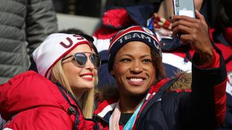 PYEONGCHANG-GUN, SOUTH KOREA - FEBRUARY 25:  Ivanka Trump poses for a selfie with Lauren Gibbs as they attend the 4-man Boblseigh on day sixteen of the PyeongChang 2018 Winter Olympic Games at Olympic Sliding Centre on February 25, 2018 in Pyeongchang-gun, South Korea.  (Photo by Andreas Rentz/Getty Images)