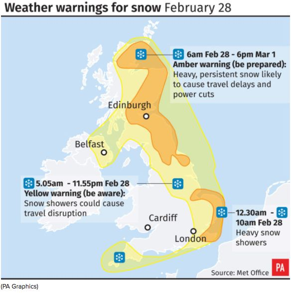 UK Weather: Heavy Snow And Plummeting Temperatures Causes Travel