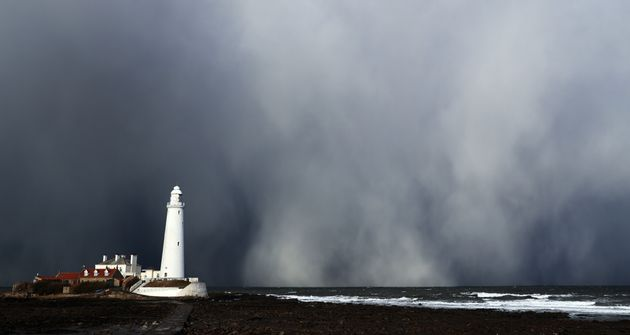 A snow storm over St Mary's Lighthouse in Whitley