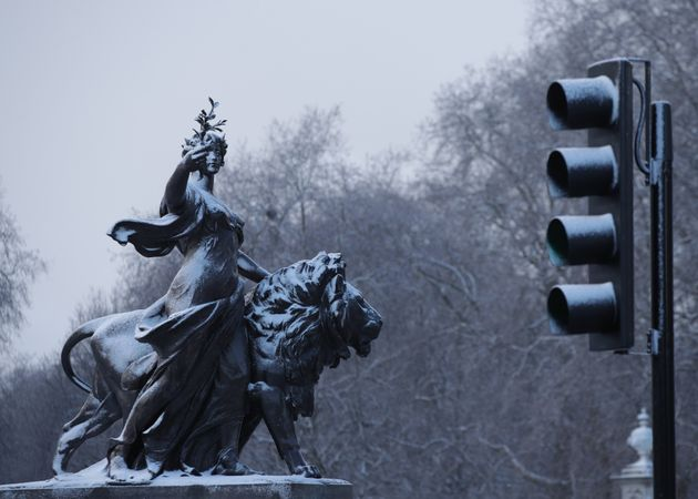 A section of the Victoria Memorial outside Buckingham
