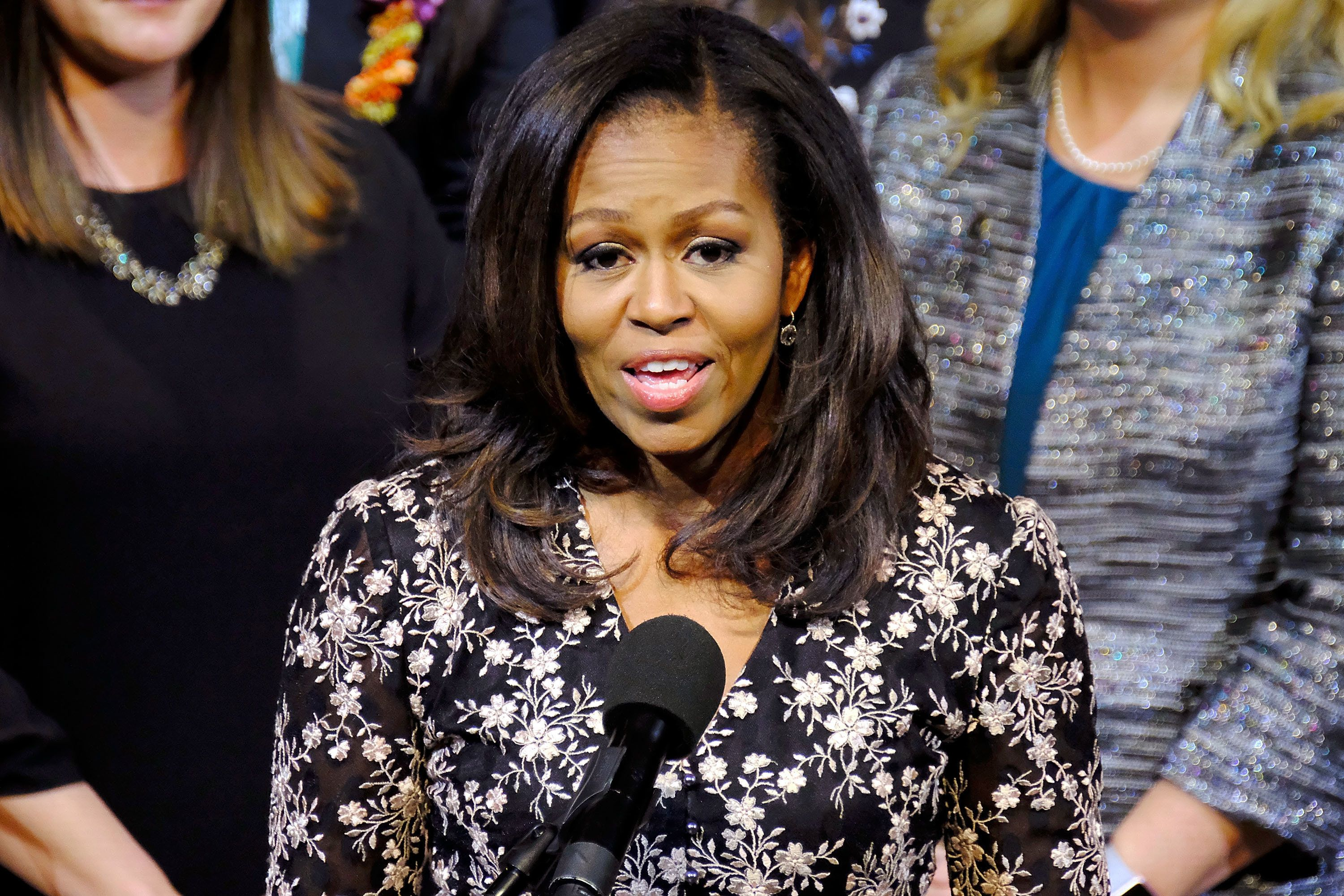 Michelle Obama, pictured earlier this month, seemed to again diss President Donald Trump's tweeting habits on Tuesday.