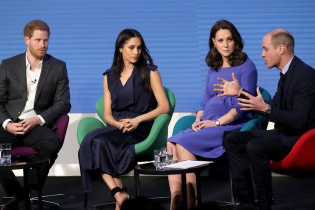 Meghan Markle y Kate Middleton coinciden vestidas de azul en su primer evento