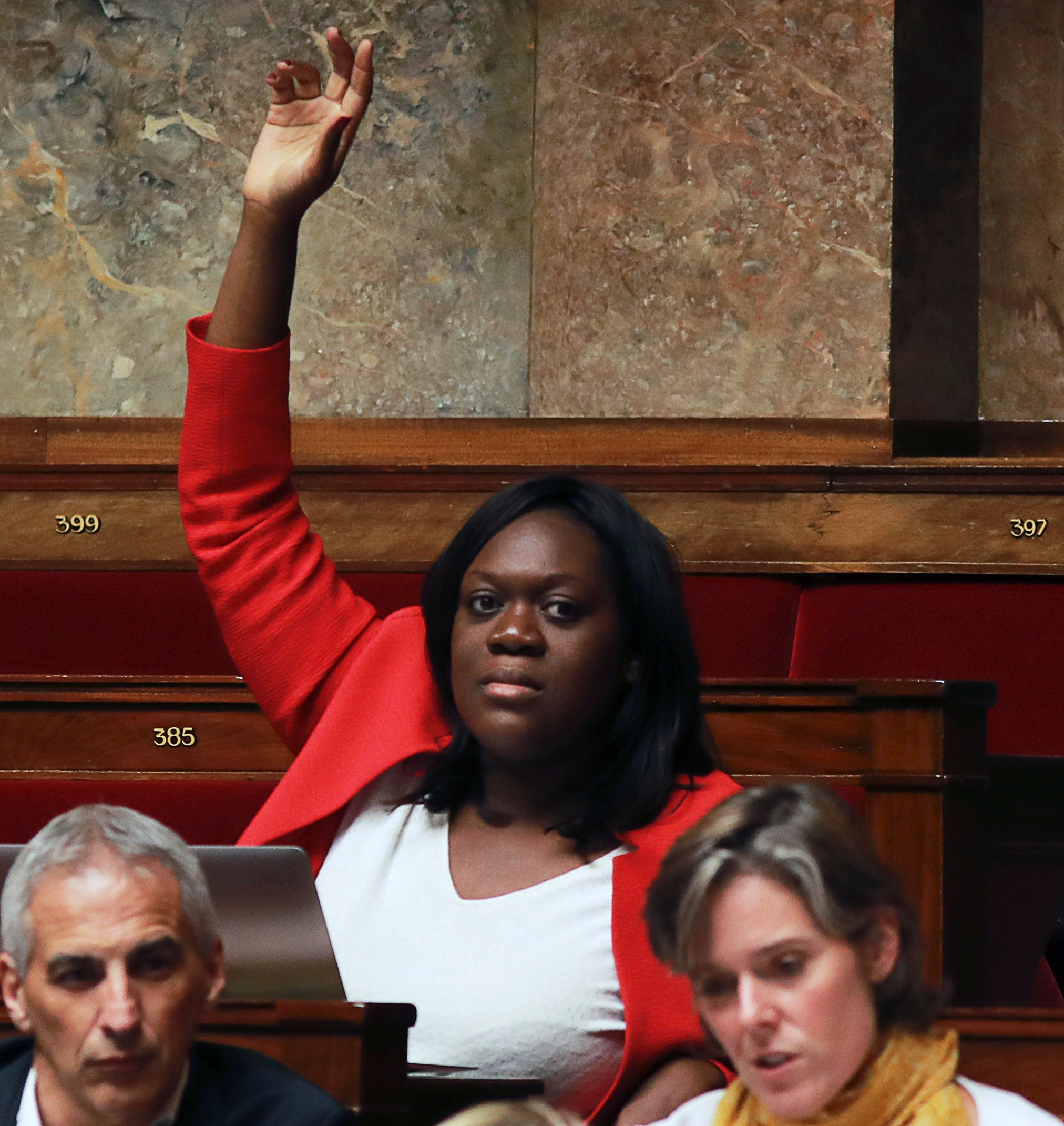 French La Republique en Marche (REM) party member of Parliament  Laetitia Avia attends a debate on a draft law on the moralisation of political life at the National Assembly in Paris, on July 28, 2017.                                                / AFP PHOTO / JACQUES DEMARTHON        (Photo credit should read JACQUES DEMARTHON/AFP/Getty Images)