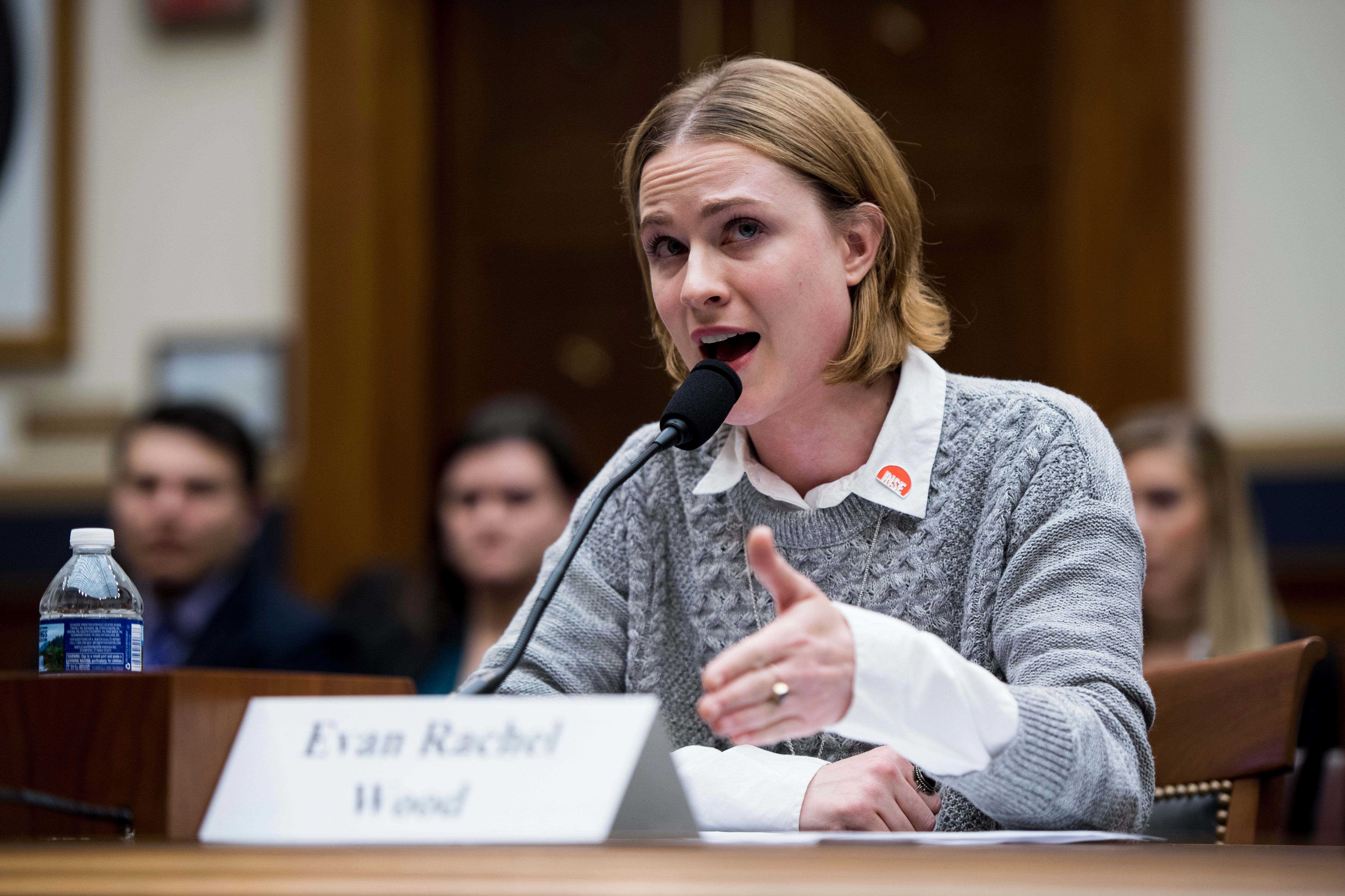 Evan Rachel Wood testifies on Tuesday at the House Judiciary Committee hearing on the Sexual Assault Survivors' Bill of Right