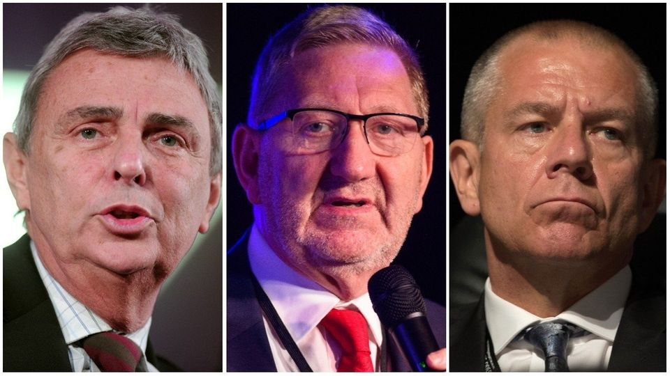 Traditional trade union bosses: left, Dave Prentis of Unison, centre, Len McCluskey of Unite and, right,...