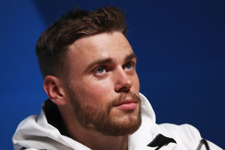 Gus Kenworthy is seen at a press conference during the Pyeongchang Winter Olympics, Feb. 11, 2018.