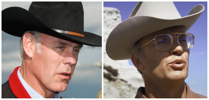 Interior Secretary Ryan Zinke, left, in Utah on May 10, 2017, and James Watt, right, who led the Interior Departmen
