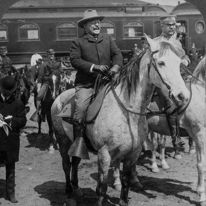 President Theodore Roosevelt arriving at Yellowstone National Park in 1903.