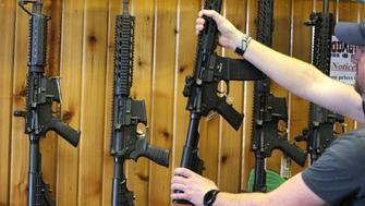 OREM, UT - FEBRUARY 15: Semi-automatic AR-15's are for sale at Good Guys Guns & Range on February 15, 2018 in Orem, Utah. An AR-15 was used in the Marjory Stoneman Douglas High School shooting in Parkland, Florida. (Photo by George Frey/Getty Images)
