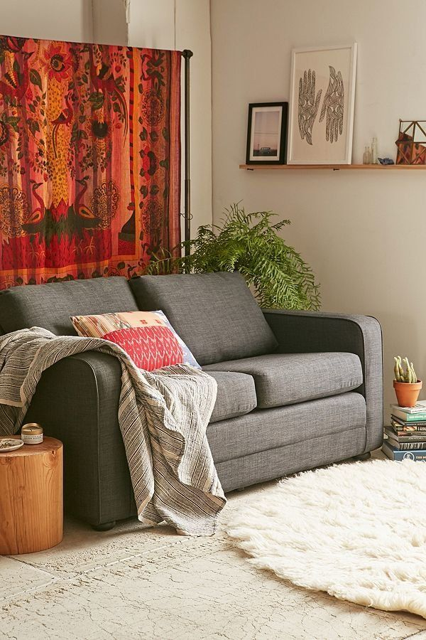 "Functional furniture is a must in a small space. <a href=""https://www.urbanoutfitters.com/shop/deco-convertible-sofa-004?cate"