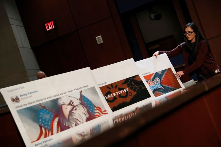 Facebook pages created by Russian trolls at the Internet Research Agency are displayed during a congressional oversight heari