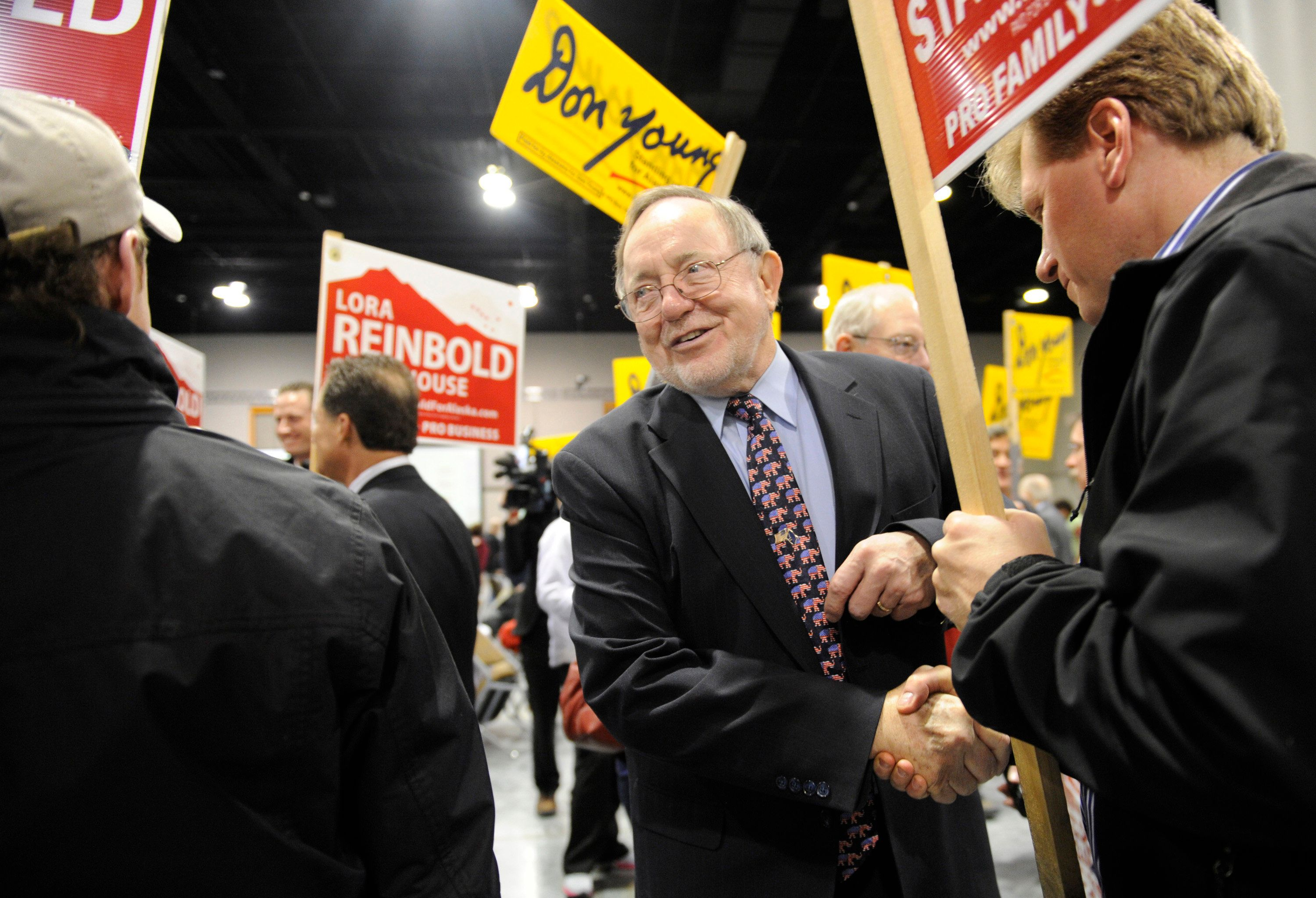 Rep. Don Young greets supporters at the Dena'ina Center on Tuesday, November 6, 2012, in Anchorage, Alaska. The Republican won his 21st term in Congresss. (Marc Lester/Anchorage Daily News/MCT via Getty Images)
