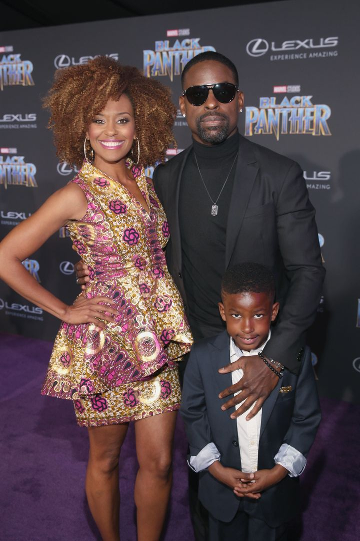 "Ryan Michelle Bathe, Sterling K. Brown and son, Andrew Brown at the premiere of Marvel's ""Black Panther"" on Jan. 29, 2018, in"