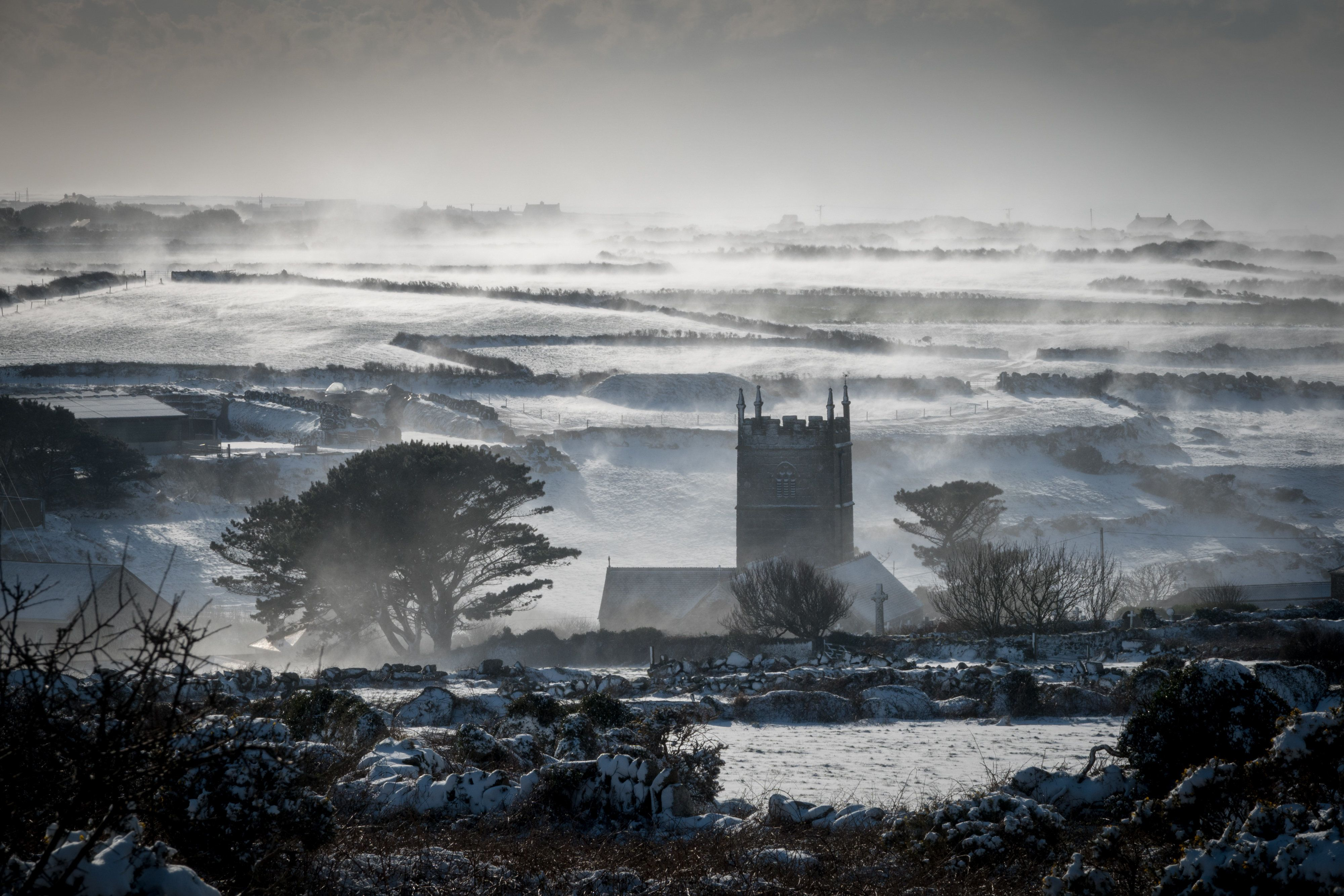 <strong>Snow drifts in fields surrounding the village of Zennor near St Ives in Cornwall.</strong>