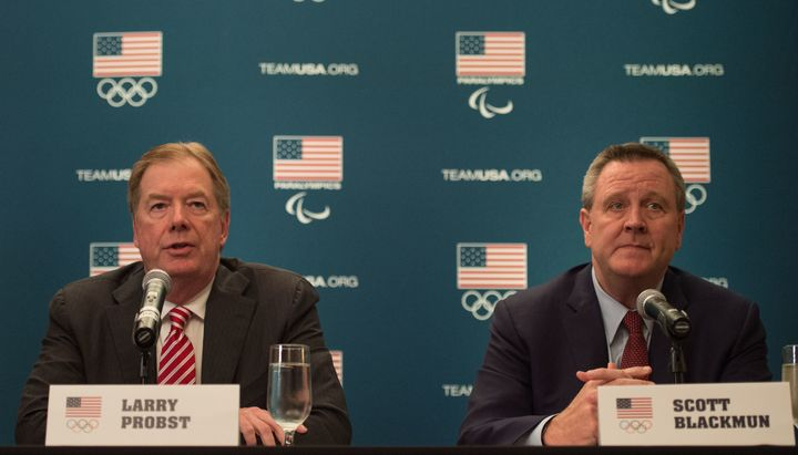 USOC Chairman Larry Probst and CEO Scott Blackmun at a 2014 news conference in San Francisco.