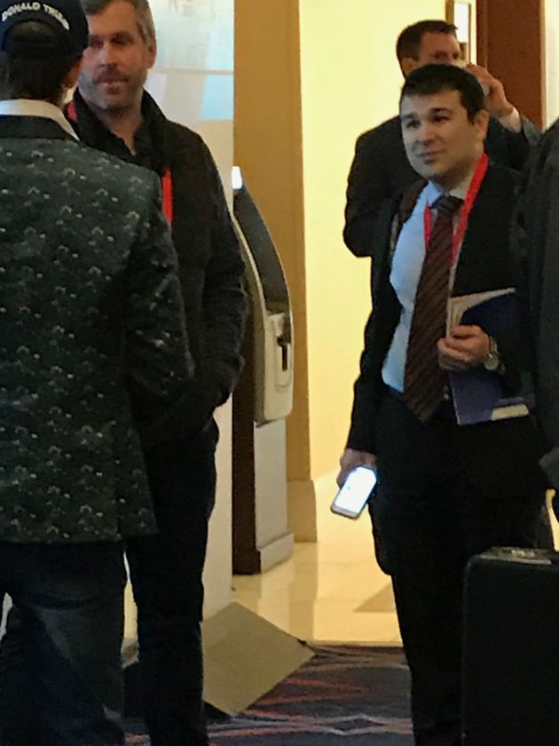 Marcus Epstein, right, at CPAC, with Mike Cernovichstanding to the