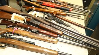 MELBOURNE, AUSTRALIA - AUGUST 11:  Weapons that were handed in are seen at the Victoria Police Forensic Services Centre on August 11, 2017 in Melbourne, Australia. More than 12,500 firearms have been surrendered across Australia in the first month of the National Firearms Amnesty, with Australians handing an average of 400 firearms every day of the Amnesty to date.  (Photo by Robert Cianflone/Getty Images)
