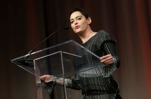 Actor Rose McGowan addresses the audience during the opening session of the three-day Women's Convention...