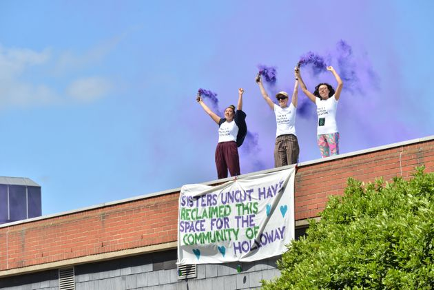 The Sisters Uncut group at one of many protests at Holloway prison in May