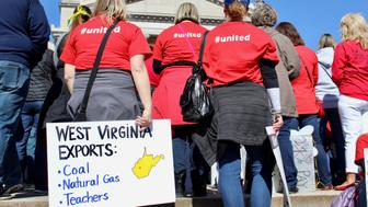 Teachers on strike at the West Virginia state capitol in Charleston