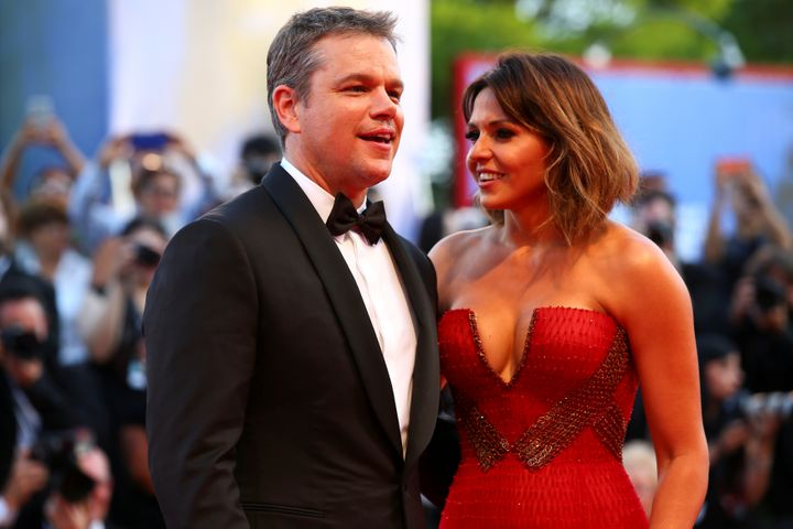 "Matt Damon and his wife, Luciana, attend the ""Downsizing"" premiere at the 2017 Venice Film Festival."